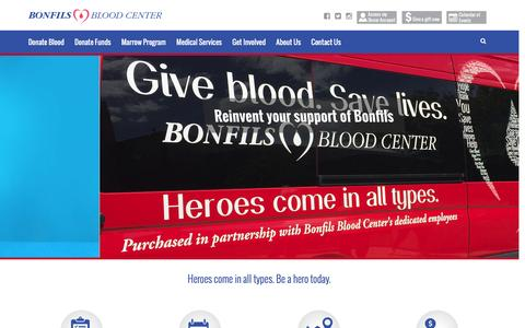 Screenshot of Home Page bonfils.org - Home - Bonfils - Heroes come in all types. - captured Feb. 7, 2016