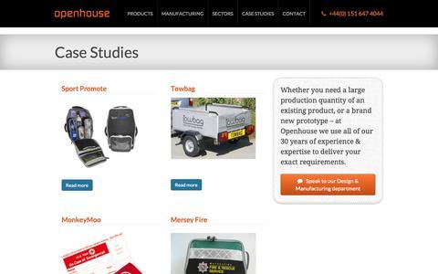 Screenshot of Case Studies Page openhouseproducts.com - Bespoke Product Case Studies | Openhouse Products - captured Oct. 7, 2014