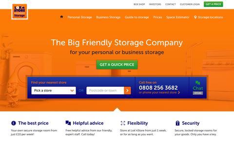 Screenshot of Home Page loknstore.co.uk - Self Storage for household and business  | Lok'nStore - captured Jan. 31, 2016