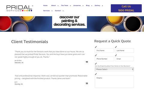 Screenshot of Testimonials Page pridal.com.au - Testimonials - captured Nov. 12, 2016