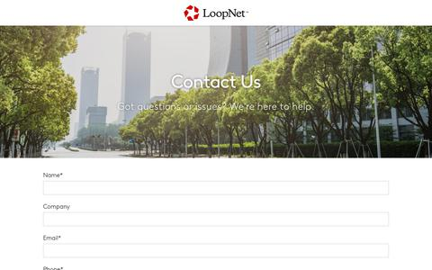 Screenshot of Contact Page loopnet.com - Contact Us - captured Oct. 9, 2017