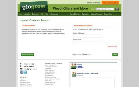 Screenshot of Login Page glogrow.com - Customer Login - captured Sept. 30, 2014