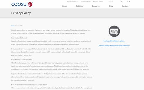 Screenshot of Privacy Page capsuletech.com - Privacy Policy | Capsule - captured July 19, 2014