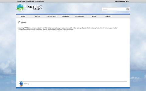 Screenshot of Privacy Page learningarts.com - Learning Arts - Learning ARTS - Privacy - captured Sept. 29, 2014