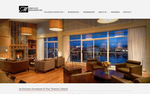 Screenshot of Home Page mprivateresidences.com - M Private Residences | Second Home Equity Investment StrategyM Private Residences - captured Feb. 2, 2016