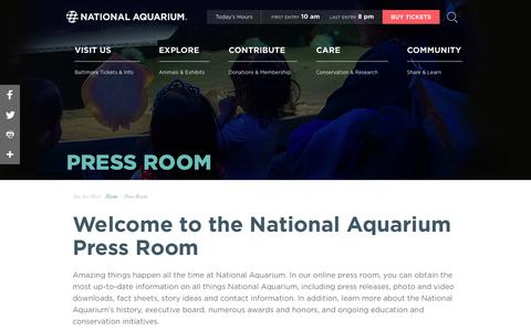 Screenshot of Press Page aqua.org - National Aquarium | Press Room - captured Jan. 6, 2018