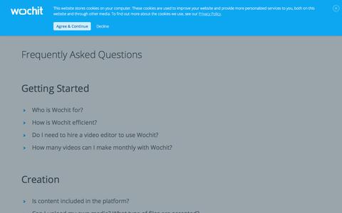 Screenshot of FAQ Page wochit.com - Frequently Asked Questions | Wochit | Video Creation Platform - captured Jan. 6, 2020