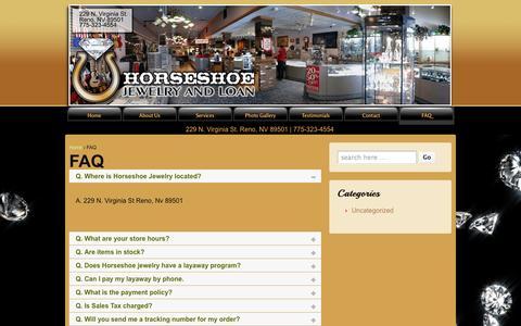 Screenshot of FAQ Page jewelryman.com - FAQ | Reno Nevada Diamond Gold Jewelry Repair 775-323-4554 Store - captured Oct. 3, 2014