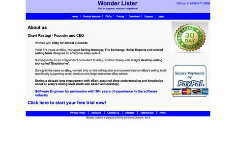 Screenshot of About Page wonderlister.com - Wonder Lister - About us - captured Oct. 7, 2014