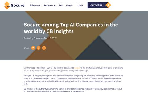 Screenshot of Press Page socure.com - Socure among Top AI Companies in the world by CB Insights - captured Oct. 18, 2019