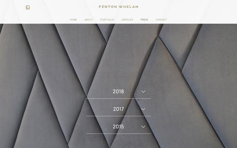 Screenshot of Press Page fentonwhelan.com - Fenton Whelan - Press - captured Oct. 10, 2018