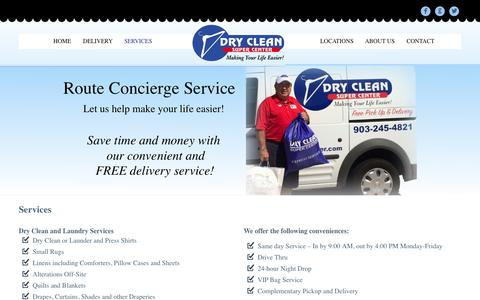 Screenshot of Services Page dcsctyler.com - Dry Clean Super Center of Tyler Services - captured Nov. 3, 2014