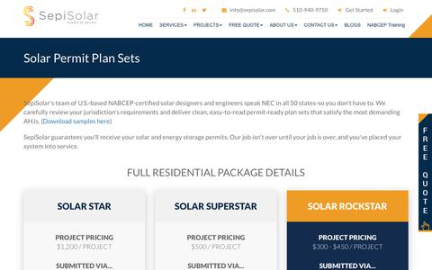 Screenshot of Pricing Page sepisolar.com - Full Residential Solar Permit Plan Sets  - SEPISOLAR - captured Oct. 20, 2018