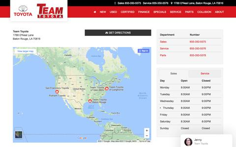 Screenshot of Hours Page team-toyota.com - Hours & Directions to Team Toyota in Baton Rouge | Near Central - captured Oct. 20, 2017