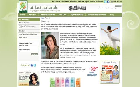 Screenshot of About Page atlastnaturals.com - About Us - captured Sept. 30, 2014