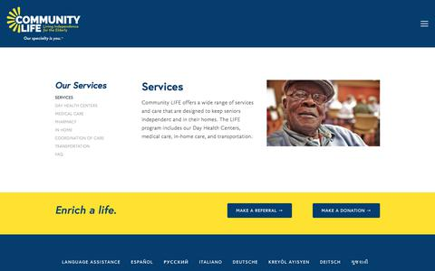 Screenshot of Services Page commlife.org - Services — Community LIFE - captured Aug. 17, 2017