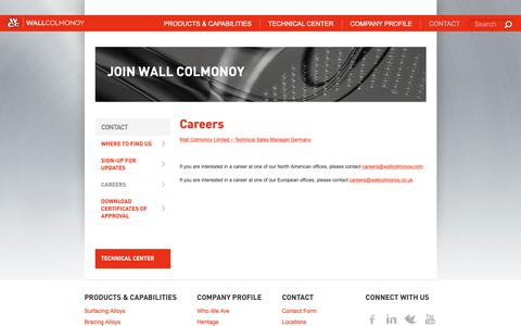 Screenshot of Jobs Page wallcolmonoy.com - Career Opportunities - Wall Colmonoy - captured Oct. 18, 2018