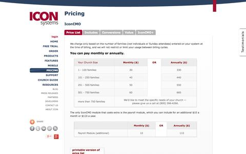 Screenshot of Pricing Page iconcmo.com - Pricing for Church Software (ChMS) Cloud Based Solution CMO - captured Oct. 10, 2014