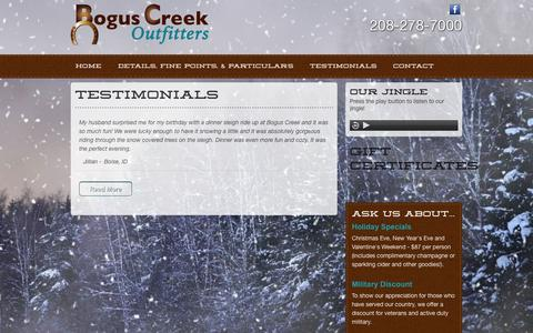 Screenshot of Testimonials Page boguscreek.com - Testimonials | Bogus Creek Outfitters - captured Oct. 5, 2014