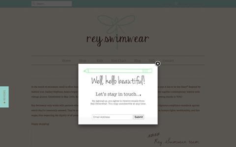 Screenshot of About Page reyswimwear.com - Who says it has to be itsy bitsy? - REY SWIMWEAR - captured Oct. 21, 2015