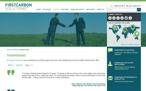 Screenshot of Testimonials Page firstcarbonsolutions.com - Testimonials - case studies, firstcarbon solutions, energy management, sustainability consulting, carbon management, sustainability consulting for businesses, environmental consulting solutions, energy management services, carbon trading credits, car - captured Sept. 25, 2018