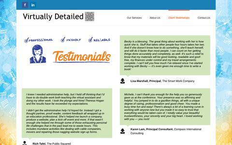 Screenshot of Testimonials Page virtuallydetailed.com - Client Testimonials – Virtually Detailed - captured Oct. 20, 2018