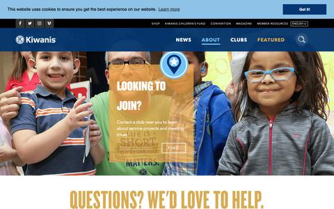Screenshot of Contact Page kiwanis.org - Contact - captured Oct. 15, 2018