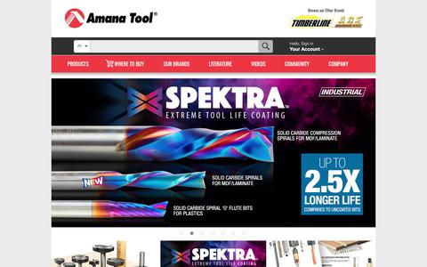 Screenshot of Home Page amanatool.com - Router Bits, CNC Router Bits, Saw Blades, Shaper Cutters, Boring Bits by Amana Tool - captured June 25, 2017