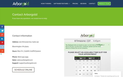 Screenshot of Contact Page arborgold.com - Contact Us - Tree Lawn and Landscape Software - captured Oct. 8, 2017
