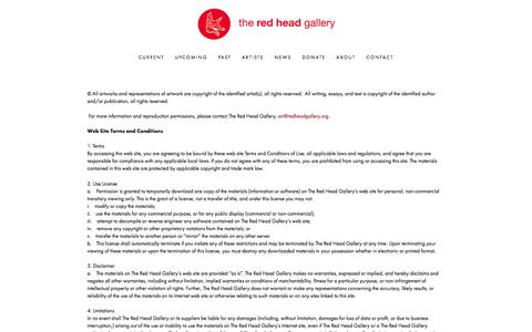 Screenshot of Terms Page redheadgallery.org - Copyright and Legal Ń Red Head Gallery - captured Jan. 13, 2016