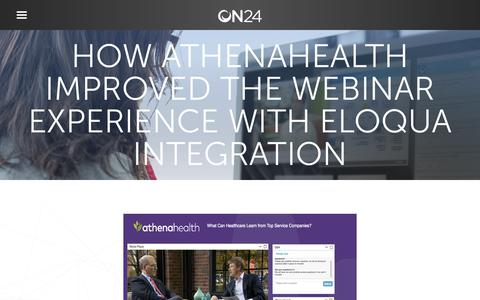 Screenshot of Case Studies Page on24.com - Case Study: athenahealth | ON24 - captured Oct. 12, 2017