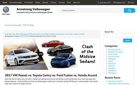 Screenshot of Blog armstrongvw.com - Armstrong Volkswagen - Official Blog - captured Sept. 25, 2016