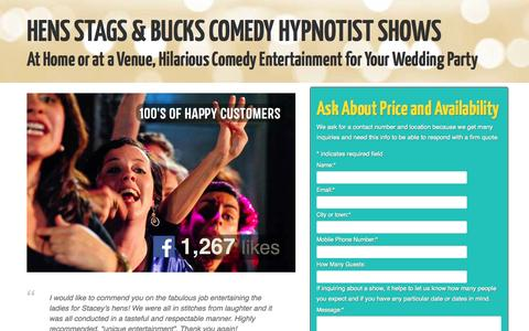 Screenshot of Landing Page gerardv.com - Hens Stags Bucks Bachelorettes and Weddings | Comedy Hypnotist Shows for Corporate Events, Clubs and Private Parties - captured Oct. 28, 2014