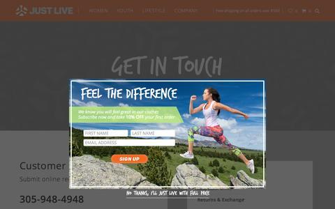 Screenshot of Contact Page justlive.com - Contact - Just Live Inc - captured Feb. 12, 2016