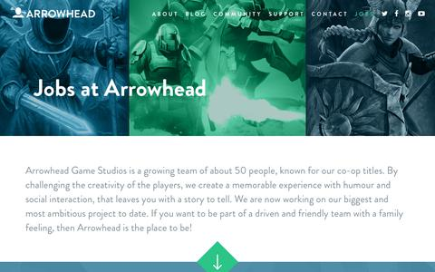 Screenshot of Jobs Page arrowheadgamestudios.com - Jobs | Arrowhead - captured Nov. 6, 2018