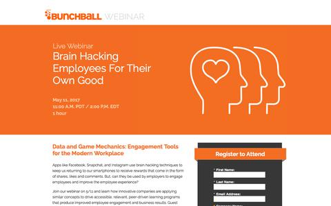 Screenshot of Landing Page bunchball.com - Brain Hacking Employees For Their Own Good - captured Dec. 5, 2017