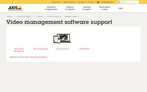Screenshot of axis.com - Video management software support | Axis Communications - captured Aug. 15, 2017