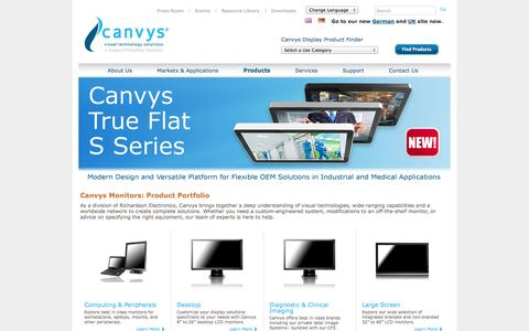 Screenshot of Products Page canvys.com - Canvys Products - Visual Technology Products - captured Oct. 1, 2014