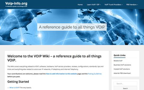 Screenshot of Home Page voip-info.org - Welcome to the VOIP Wiki - a reference guide to all things VOIP. - VoIP-Info - captured April 17, 2018