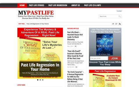 Screenshot of Home Page mypastlife.com - Past Life Regression - Unlock the secrets of your hidden past lives - captured June 14, 2016