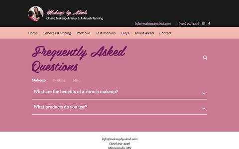 Screenshot of FAQ Page makeupbyaleah.com - Airbrush Makeup & Tanning | Minneapolis, MN | Makeup by Aleah | FAQs - captured July 27, 2018