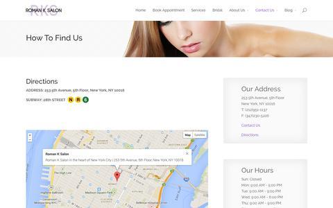 Screenshot of Maps & Directions Page romanksalon.com - Directions | Roman K Salon - captured Sept. 30, 2014