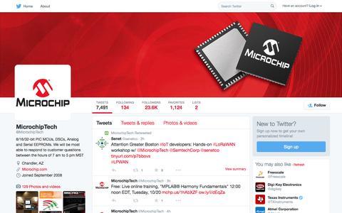 Screenshot of Twitter Page twitter.com - MicrochipTech (@MicrochipTech) | Twitter - captured Oct. 15, 2015