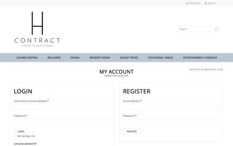 Screenshot of Login Page hcontractfurniture.com - My Account | H Contract Furniture - captured Sept. 26, 2014