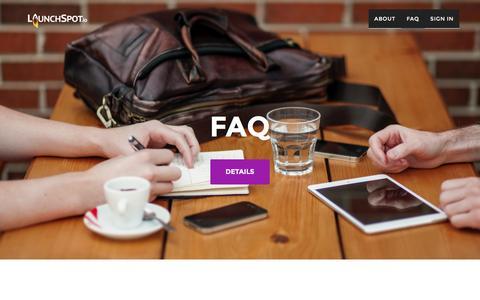 Screenshot of FAQ Page launchspot.io - LaunchSpot | FAQ - captured Jan. 26, 2016