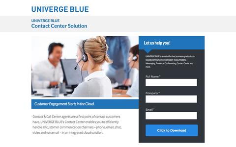 Screenshot of Landing Page univergeblue.com - Contact Center Solution - captured July 22, 2017