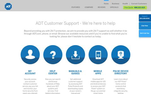 Screenshot of Support Page adt.com - ADT Customer Support | Customer Service - ADT Security Services - captured July 23, 2016