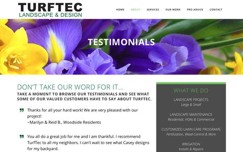 Screenshot of Testimonials Page turfteclandscapeanddesign.com - TurfTec Landscape and Design |   Testimonials - captured Oct. 18, 2018