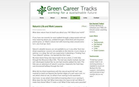 Screenshot of Blog greencareertracks.com - Green Career Tracks - Turtle Talk Blog - captured Sept. 30, 2014
