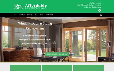 Screenshot of Home Page newwindowsportland.com - Home - Affordable Home Remodeling - captured Oct. 3, 2018